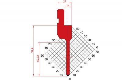 1083: Poinçon 90° r0.6 H94.40
