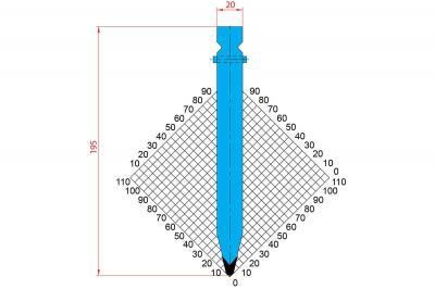 1237: Poinçon 28° r3 h 195mm