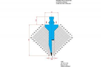 1308: Poinçon 28° r1 h 140mm