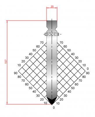 1318: Poinçon 60° r4 h 157mm