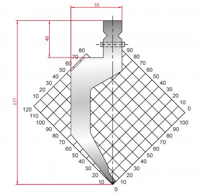 1319: Poinçon 80° r1 h 177mm