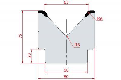 2023: Matrice acier C45 V:63 à 85° H:75