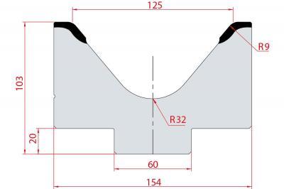 2026: Matrice acier C45 V:125 à 80° H:103