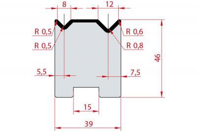 2051: Matrice Amada Promecam à 2V 90° autocentrée