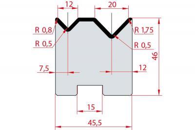 2054: Matrice Amada Promecam à 2V 88° autocentrée