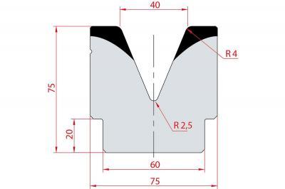 2081: Matrice acier C45 V:40 à 45° H:75