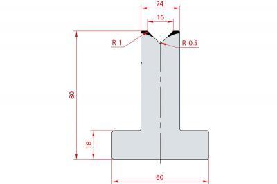 3014: Matrice en T acier C45 V:16 à 90° H:80
