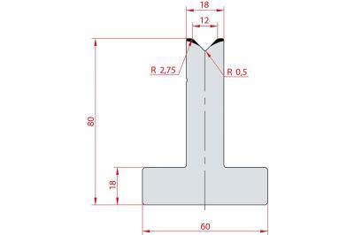 3015: Matrice en T acier C45 V:12 à 88° H:80