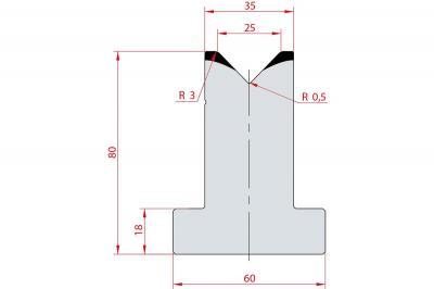 3018: Matrice en T acier C45 V:25 à 88° H:80
