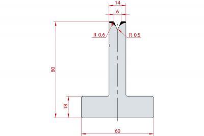 3026: Matrice en T acier C45 V:6 à 45° H:80