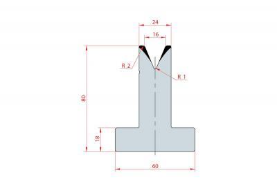 3030: Matrice en T acier C45 V:16 à 45° H:80