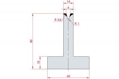 3042: Matrice en T acier C45 V:6 à 30° H:80