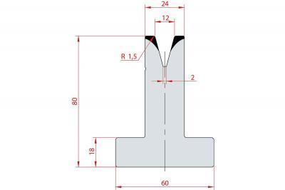 3045: Matrice en T acier C45 V:12 à 30° H:80