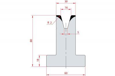 3046: Matrice en T acier C45 V:16 à 30° H:80