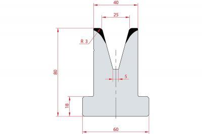 3048: Matrice en T acier C45 V:25 à 30° H:80