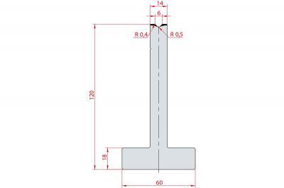3050: Matrice en T acier C45 V:6 à 90° H:120