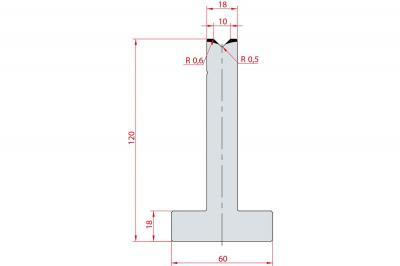 3052: Matrice en T acier C45 V:10 à 90° H:120