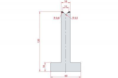 3053: Matrice en T acier C45 V:12 à 90° H:120