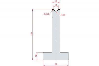 3055: Matrice en T acier C45 V:12 à 88° H:120