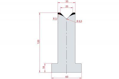 3058: Matrice en T acier C45 V:25 à 88° H:120