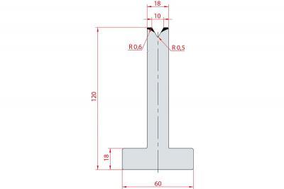 3061: Matrice en T acier C45 V:10 à 60° H:120