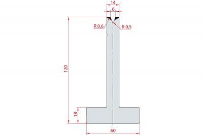 3066: Matrice en T acier C45 V:6 à 45° H:120