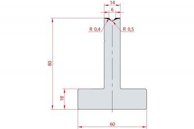 3080: Matrice en T acier C45 V:6 à 88° H:80