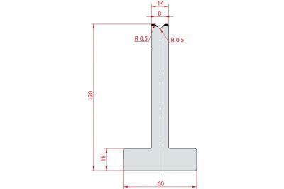 3084: Matrice en T acier C45 V:8 à 88° H:120