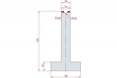 3085: Matrice en T acier C45 V:10 à 88° H:120