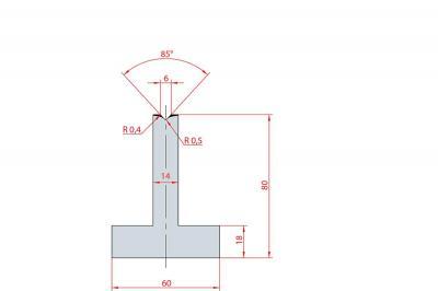 3086: Matrice en T acier C45 V:6 à 85° H:80