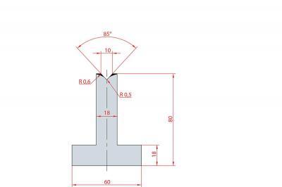 3088: Matrice en T acier C45 V:10 à 85° H:80