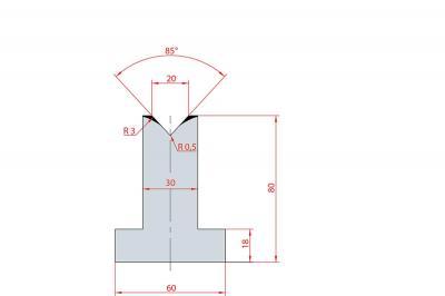 3091: Matrice en T acier C45 V:20 à 85° H:80