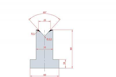 3092: Matrice en T acier C45 V:25 à 85° H:80