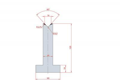 3097: Matrice en T acier C45 V:16 à 85° H:120