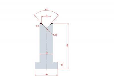 3099: Matrice en T acier C45 V:25 à 85° H:120