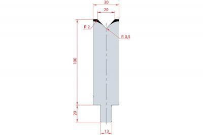 3128: Matrice Trumpf Wila V:20 à 86° H: 100