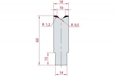 3161: Insert matrice à 88°, hauteur 60 mm, V10