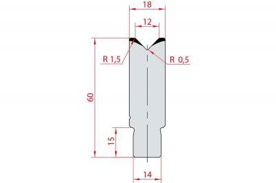 3162: Insert matrice à 88°, hauteur 60 mm, V12