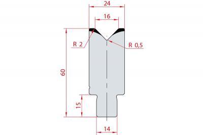 3163: Insert matrice à 88°, hauteur 60 mm, V16