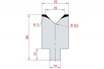 3165: Insert matrice à 88°, hauteur 60 mm, V25