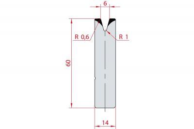 3166: Insert matrice à 30°, hauteur 60 mm, V6