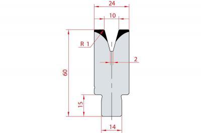 3168: Insert matrice à 30°, hauteur 60 mm, V10