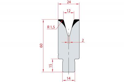 3169: Insert matrice à 30°, hauteur 60 mm, V12