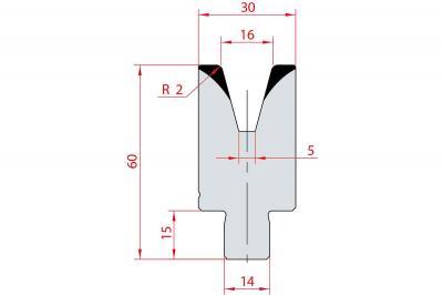 3170: Insert matrice à 30°, hauteur 60 mm, V16