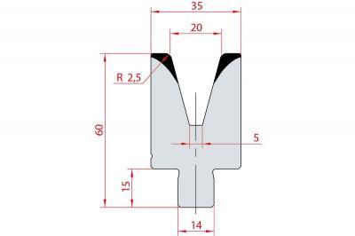 3171: Insert matrice à 30°, hauteur 60 mm, V20