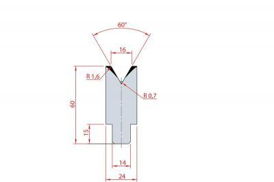 3197: Insert matrice à 60°, hauteur 60 mm, V16