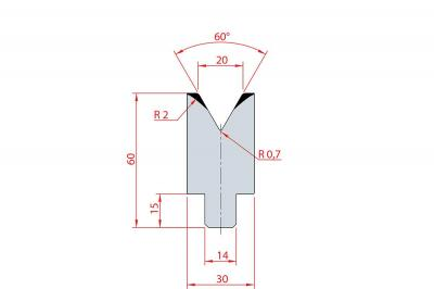 3198: Insert matrice à 60°, hauteur 60 mm, V20