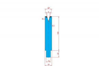 3207: Matrice Trumpf Wila V:8 à 30° H: 100