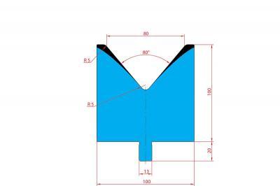 3221: Matrice Trumpf Wila V:80 à 80° H: 100
