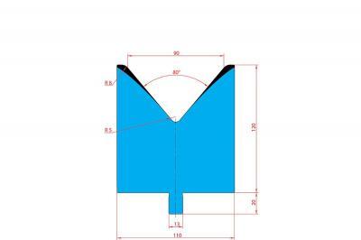 3222: Matrice Trumpf Wila V:90 à 80° H: 100